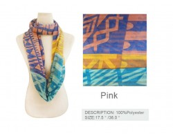 Pink Bright Aztec Design Infinity Scarf