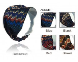 Aztec Dark Chevron Pattern Wide Cloth Headbands 12pc