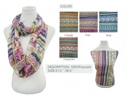 Assorted Color Aztec Pattern Infinity Scarf 6pk