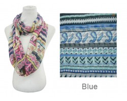 Blue Color Aztec Pattern Infinity Scarf