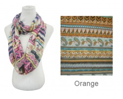 Orange Color Aztec Pattern Infinity Scarf