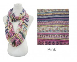 Pink Color Aztec Pattern Infinity Scarf