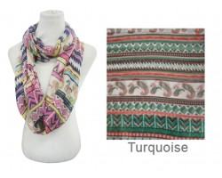 Turquoise Color Aztec Pattern Infinity Scarf