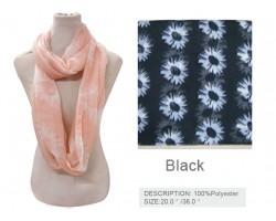 Black White Daisy Flower Infinity Scarf