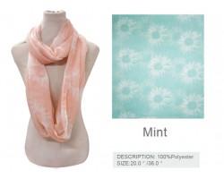 Mint Daisy Flower Infinity Scarf