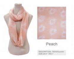 Peach Daisy Flower Infinity Scarf