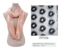 White Black Daisy Flower Infinity Scarf