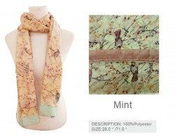 Mint Abstract Bird In Tree Oblong Scarf