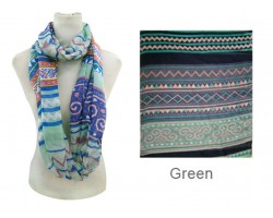 Green Color Aztec Pattern Infinity Scarf