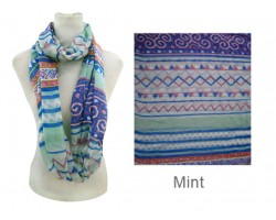 Mint Color Aztec Pattern Infinity Scarf