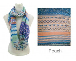Peach Color Aztec Pattern Infinity Scarf