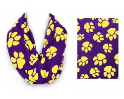 Purple Yellow Paw Print Infinity Scarf