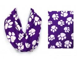Purple Paw Print Infinity Scarf