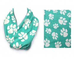 Turquoise Paw Print Infinity Scarf
