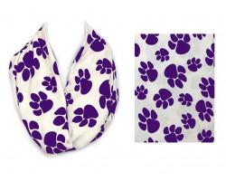 White Purple Paw Print Infinity Scarf