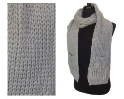 Gray with Bow on Pocket Oblong Cable Knit Scarf