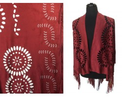 Burgundy Suede Open Cut Fringed Edge Ruana Poncho