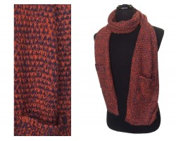 Maroon Orange Knit Oblong Scarf Pocket on Each End