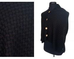 Black Open Weave Knit Button Wrap Shawl