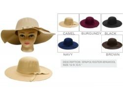 Assorted Felt Floppy Brim Woven Band Ladies Hat 6pk