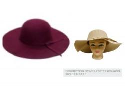 Burgundy Felt Floppy Brim Woven Band Ladies Hat