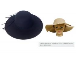 Black Felt Floppy Brim Woven Band Ladies Hat