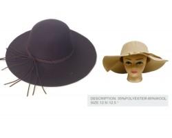 Brown Felt Floppy Brim Woven Band Ladies Hat