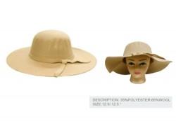Camel Felt Floppy Brim Woven Band Ladies Hat