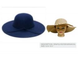 Navy Blue Felt Floppy Brim Woven Band Ladies Hat