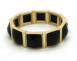 Black Stone Gold Section Stretch Bracelet