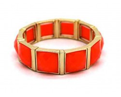Coral Stone Gold Section Stretch Bracelet