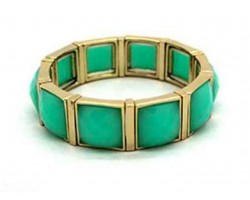 Mint Stone Gold Section Stretch Bracelet