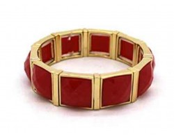 Red Stone Gold Section Stretch Bracelet