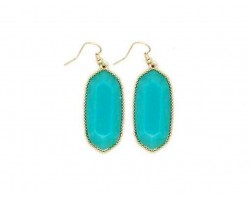Turquoise Stone Gold Edge Hook Earrings