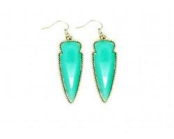 Mint Stone Arrow Head Gold Edge Hook Earrings