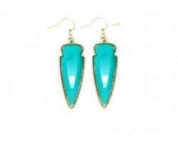 Turquoise Stone Arrow Head Gold Edge Hook Earrings