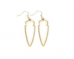 White Stone Arrow Head Gold Edge Hook Earrings