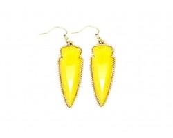 Yellow Stone Arrow Head Gold Edge Hook Earrings