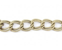 Antique Gold 16x19mm Text Double Curb Link Chain