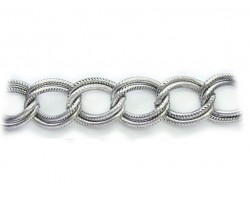 Rhodium 16x19mm Text Double Curb Link Chain