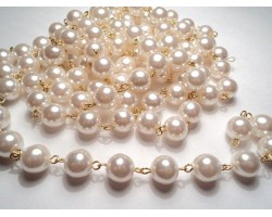 Antique Gold Plate Link Rosary 4 mm Pearl Bead Chain