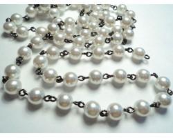 Gun Metal Link Rosary 4 mm Pearl Bead Chain
