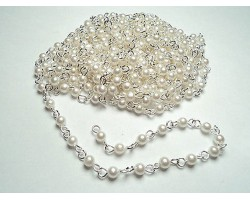 Shiny Silver Link Rosary 4 mm Pearl Bead Chain