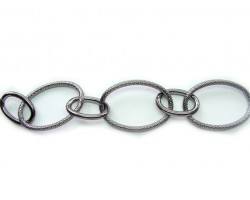 Gun Metal 22x35mm Oval Texture Chain