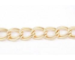 Shiny Gold 16x19mm Text Double Curb Link Chain
