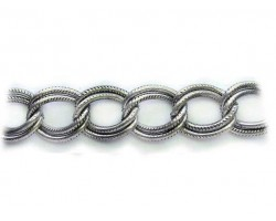 Antique Silver 16x19mm Text Double Curb Link Chain