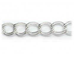 Shiny Silver 16x19mm Text Double Curb Link Chain