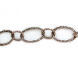Antique Copper 25x35mm Flat Oval Texture Chain