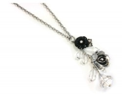 Silver Flower Charm Chain Necklace