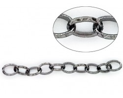 Gun Metal 10x14mm Ethnic Design Oval Link Chain